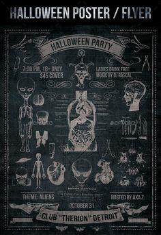 Vintage Grunge UFO themed Halloween Poster #halloween #horrorposter #halloweenideas #trickortreat #ufo #extraterrestrial #vintage #grungeprint #anathomy #grungemedicine