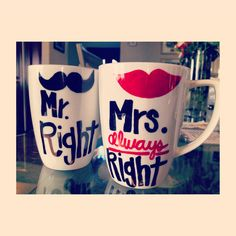 Wedding gift dyi coffee mugs! super cutee for those java hooked couples!
