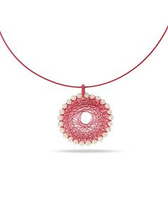 Take a look at this Pink & Pearl Dream Catcher Necklace by Delmar on #zulily today!
