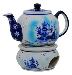 Love this winter decoration :) Tea pot with heater, Polish pottery