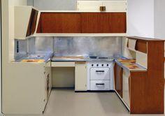 an original kitchen by Le Corbusier's Unité d'more Habitation, Cité Radieuse built in Marseille 1947-52.    #LeCorbusier