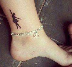 "Ballerina Tattoo -A dancer of the utmost grace and eloquence. Albert Einstein calls ballet dancers ""athletes of god"" Mini Tattoos, Little Tattoos, Small Tattoos, Ballet Tattoos, Ankle Tattoos, Piercing Tattoo, Tattoo Rings, Doll Tattoo, Ankle Tattoo Designs"