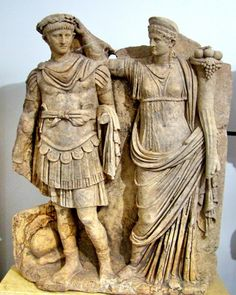 Caesar Nero, Emperor of Rome ( 15 BC) and Agrippina. Aphrodisias Museum.   Most Greek ancient clothing was made of wool, sometimes linen was available. The very wealthy will wear silk and cotton beacuse they can afford it. Most clothing was not dyed at this time.
