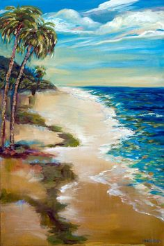 Buy Tropical Shore, an Acrylic Painting on Canvas, by Linda Olsen from United States, For sale, Price is $830, Size is 36 x 24 x 1 in.