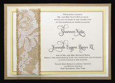 Rustic invitation with woodgrain layering and lace/burlap embellishment evenstarpaperie.com