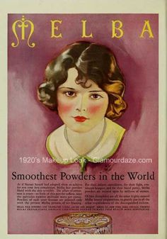 Vintage Advert for Melba Face Powder - Photoplay Jul 1926 - Illustrated by Roy Best 1920s Makeup Look, Vintage Makeup Ads, Vintage Beauty, Vintage Vanity, Vintage Perfume, Vintage Labels, Vintage Ads, Vintage Room, Vintage Magazines