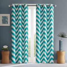 Show off your unconventional style with the chic Libra Window Curtain Panel Pair by Intelligent Design. The bold chevron design brings a cool modern design element to your window. The foam back lining adds room darkening and energy saving benefits. Chevron Curtains, Drapes Curtains, Colorful Curtains, Patterned Curtains, Grommet Curtains, White Curtains, Bedroom Drapes, Master Bedroom, Child Room