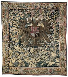 Tapestry with the arms of emperor Charles V by Wilhelm de Pannemaker, c.1540. Rijksmuseum, Public Domain