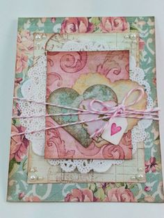 So sweet is this shabby chic Valentine card! Multi layers of luscious colored papers.  ♥ Love ♥