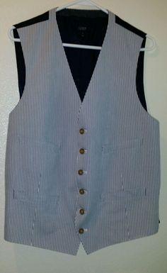 J. Crew Men's ludlow Suit Vest in Japanese Seersucker size L Athletic blue #JCrew