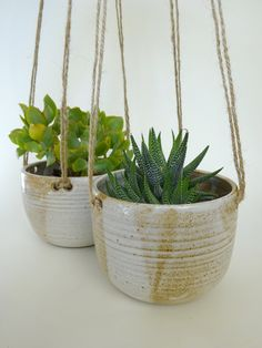 Hanging planters - Set of two Handmade Ceramic Hanging Planters - rustic white and toffee colour Hanging pots by viCeramics on Etsy https://www.etsy.com/listing/251477887/hanging-planters-set-of-two-handmade