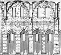 This nave elevation of Arnsburg Abbey, Germany, shows the typical arrangement of the nave arcade, aisle, clerestory windows and ribbed vault Romanesque Architecture, Roman Architecture, Peterborough Cathedral, Ribbed Vault, Round Arch, Clerestory Windows, 11th Century, Kirchen, Exterior