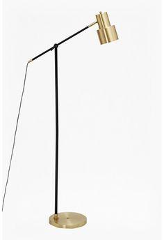 Brass and Matte Black Floor Lamp