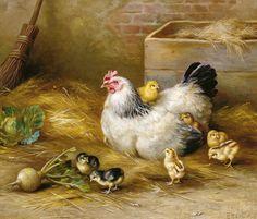 Edgar Hunt 1876 - 1955 The Proud Mother. British artist from Birmingham in the Midlands