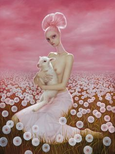 """The Wish"" Oil on board ©Lori Earley. Limited edition print for sale at www.loriearley.com #LoriEarley #LoriEarleyArt #Art #OilPainting #GothicArt #BigEyes #LongNeck #Surrealism #Portrait #PinkSky #Lamb"