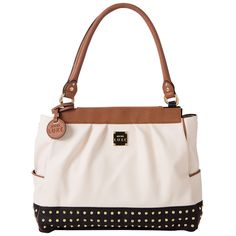 Milan Prima - Haute fashion meets classic styling. Creamy faux leather with rich brown and black accents puts the spotlight on rows of gold studs and brown piping detail. #michefashion #fashion #handbags