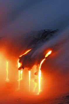 Lava flows at Eyjafjallajökull volcano - Iceland.