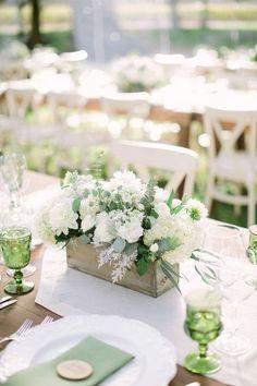 chic rustic white and green wedding centerpiece #weddingdresses