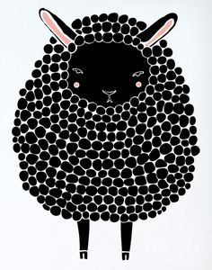 Gingiber Black Sheep Print. We love the rosy cheeks and sleepy expression on this sweet little friend!  www.treehousekidandcraft.com