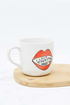 UrbanOutfitters.com: Awesome stuff for you & your space,  Product Sku: 5530040700139  Say I love you with this ceramic mug topped with a fun graphic and sweet text. Ideal gift for Valentine's Day or just because.  THINGS TO KNOW:  - Ceramic - Hand wash