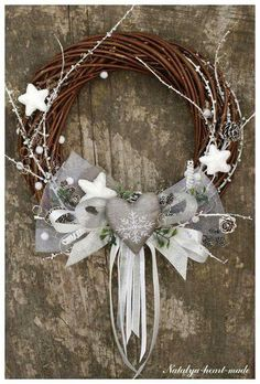 Branches colored white and silver, ribbons, tulle, pine cones and stars in polystyrene and a silver heart for a special Christmas. - hand made - craft - diy Wreath Crafts, Diy Wreath, Diy And Crafts, Christmas Crafts, Christmas Ornaments, Tulle Wreath, Burlap Wreaths, All Things Christmas, Christmas Holidays
