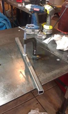 Hold down clamp for welding table, made from half a g clamp