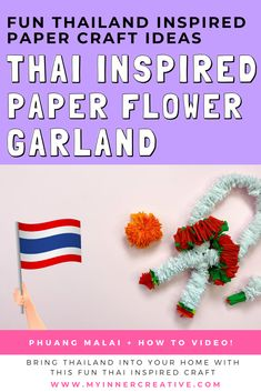 Creating a Thai Inspired Paper Flower Garland (Phuang Malai)    Are you wanting to create a really cute thai inspired paper flower garland? Bring Thailand into your home with this really easy to create crepe paper lei!  This simple paper craft is sure to please the kids as it takes a while to create these fun little garlands! Paper Flower Garlands, Paper Flowers, Web Design, Logo Design, Graphic Design, Crepe Paper, Thailand, Paper Crafts, Inspired