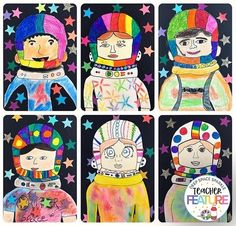 Groovy astronauts from fourth grade! ⭐️🚀 We loooove all of that COLOR! Group Art Projects, Valentines Art, Alien Art, Collaborative Art, Art Lessons Elementary, Space Crafts, Moon Art, To Infinity And Beyond, Art Classroom