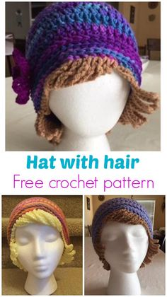For chemo patients or just for dress-up fun. Free crochet pattern for a hat with woolen hair. hat kids fun Crochet Chemo Hat With Hair Free Hat Pattern - Crochet News Crochet Wig Pattern, Crochet Adult Hat, Mode Crochet, Crochet Kids Hats, Crochet Cap, Knitted Hats, Crochet Patterns, Hat Patterns, Crochet Wigs