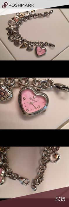 """Brighton Heart Charm Bracelet Watch This piece foes double duty. Charm bracelet with lots of hearts. A portion of proceeds went to Breast Cancer Awareness. Also has a watch attached. The back of the watch has inscribed """"Wherever you go, go with all your heart"""" ❤️  🚫 No Trades ✅ Reasonable Offers considered  🚭 Pet free, smoke free home Brighton Jewelry Bracelets"""