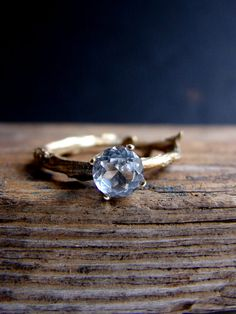 Would it be weird if I bought this for myself? Gold White Topaz Twig Ring Alternative Diamond Engagement Ring Sterling Silver Botanical Ring Aries April Birthstone on Etsy, $65.00