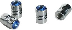 """Amazon.com : (4 Count) Cool and Custom """"Bright Crystal Gem with Easy Grip Shape"""" Tire Wheel Rim Air Valve Stem Dust Cap Seal Made of Genuine Anodized Chrome Metal {Baby Cadillac Blue and Silver Colors - Hard Metal Internal Threads for Easy Application - Rust Proof - Fits For Most Cars, Trucks, SUV, RV, ATV, UTV, Motorcycle, Bicycles} : Sports & Outdoors"""