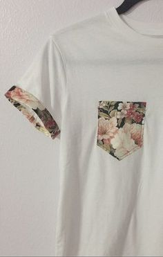 a5c1d91478 Decorate a plain tee by adding a pocket in a fun pattern and a strip around
