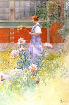 Lisbeth and Peonies by the famous Swedish artist Carl larsson. In the picture his daughter Lisbeth outside the family home at Sundborn.