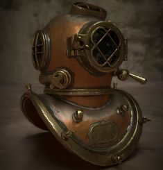 Diving helmet modelled in Highpoly in Zbrush and textured/rendered in Substance painter Diving Helmet, Scuba Diving Equipment, Game Props, Sculptures, Helmets, Artwork, Pottery Ideas, Miniatures, Tech