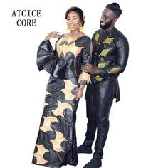 african dress for woman and man bazin riche embroidery design dress couple design Maxi Skirts For Women, African Dresses For Women, Long Maxi Skirts, African Clothes, African Women, Long Dresses, African Dashiki, African Skirt, African Style
