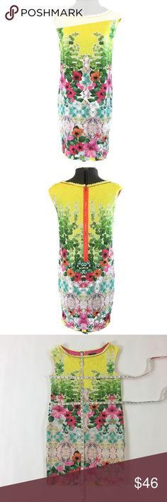 Hale Bob- Floral Sheath Dress Zipper Detailing Hale Bob- floral sheath dress with zipper neckline detailing and back zipper accept. Approximate measurements and care instructions in photos. Excellent condition. Size small Hale Bob Dresses