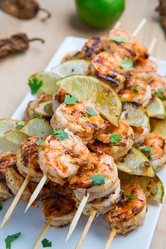 Chipotle Lime Grilled Shrimp - Closet Cooking Grilled shrimp on a stick, marinated in a smoky chipotle lime marinade. Grilling Recipes, Fish Recipes, Seafood Recipes, Mexican Food Recipes, Great Recipes, Cooking Recipes, Favorite Recipes, Healthy Recipes, Keto Recipes