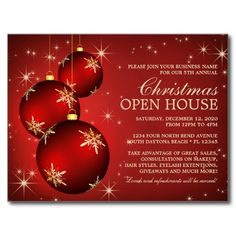 Elegant Business Holiday Open House Invitation Postcard Holiday