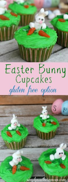 These cute Easter Bunny Cupcakes are the perfect Easter party dessert! They include a gluten free option and a quick and easy option!