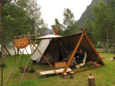 Viking Camp Bushcraft - Bushcraft USA Forums ------> Really cool style of tent for both sleep and shaded lounge space - even if it is early period.