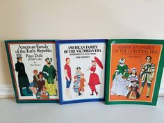Vintage PAPER DOLLS, Tom Tierney Paper Dolls, 3 Full Sets, Victorian Era, Early Republic, Colonial Era, American Family, Cut Outs, 1980s http://etsy.me/2txHgA4    #vintagepaperdolls #largepaperdolls #cutouts #junkyardblonde #3fullsets #victorianera #earlyr