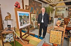 Peter Blake has lived in his two-storey studio in West London since 1967 and it is located round the corner to his home where he lives with his wife Chrissy. Peter Blake Artist, Sgt Pepper Album Cover, Beatles Albums, Pop Art Movement, Lonely Heart, West London, Concert Posters, Sleeve Designs, Album Covers