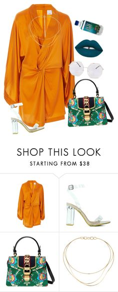 """""""gucci tears"""" by chanelandcoke ❤ liked on Polyvore featuring Acler, Gucci, Tiffany & Co. and Lime Crime"""