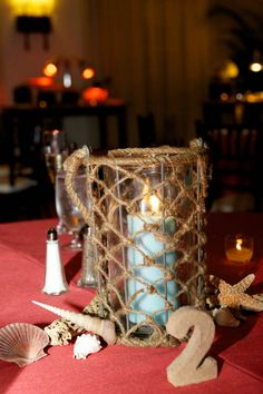 This beach wedding table setting is too cute!