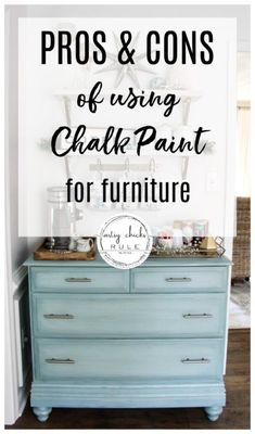 Today I'm sharing all the pros and cons of chalk paint for furniture. Plus, a few of my favorite chalk painted furniture makeovers too! Since I use a lot of chalk style paints Diy Furniture Renovation, Furniture Makeover, Bedroom Furniture, Furniture Design, Furniture Legs, Barbie Furniture, Garden Furniture, Dresser Makeovers, Distressed Furniture