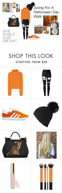 """A Halloween Day Walk"" by emclifford ❤ liked on Polyvore featuring Acne Studios, WithChic, adidas, Black, Dolce&Gabbana, Beautycounter, Max Factor and Halloween"