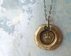 Bronze Cantering Horse Wax Seal Pendant Necklace
