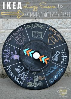 Lazy susan turned Spinning Activity Chart . Would love this for the school room. It has story time, zoo and park. Kid decorated by colored chalk.