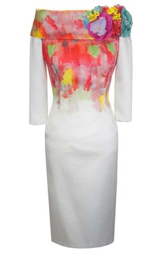 a9d0d40e131c8 94858 - Carla Ruiz 94858, Vibrant Print Fitted Dress with 3/4 length sleeves